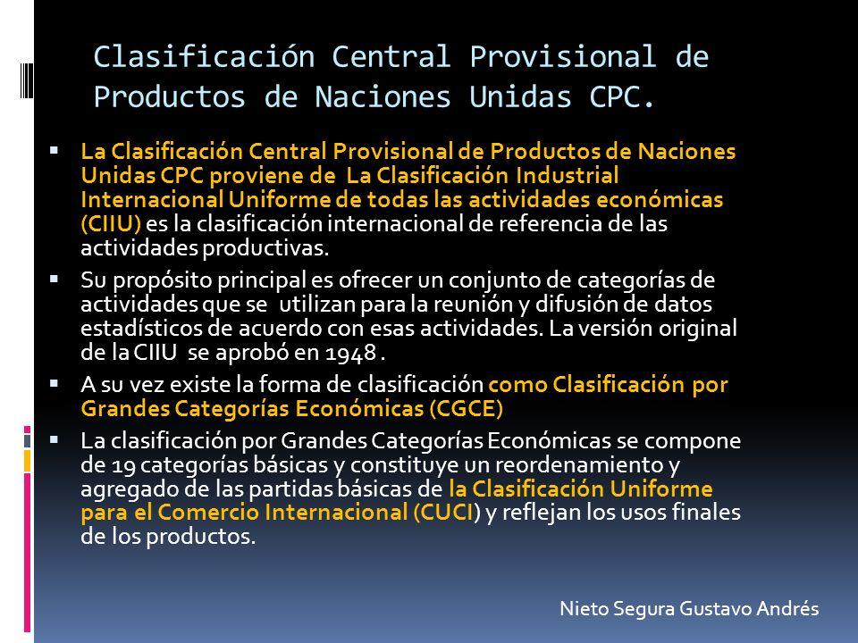 Clasificación Central Provisional de Productos de Naciones Unidas CPC. La Clasificación Central Provisional de Productos de Naciones Unidas CPC provie