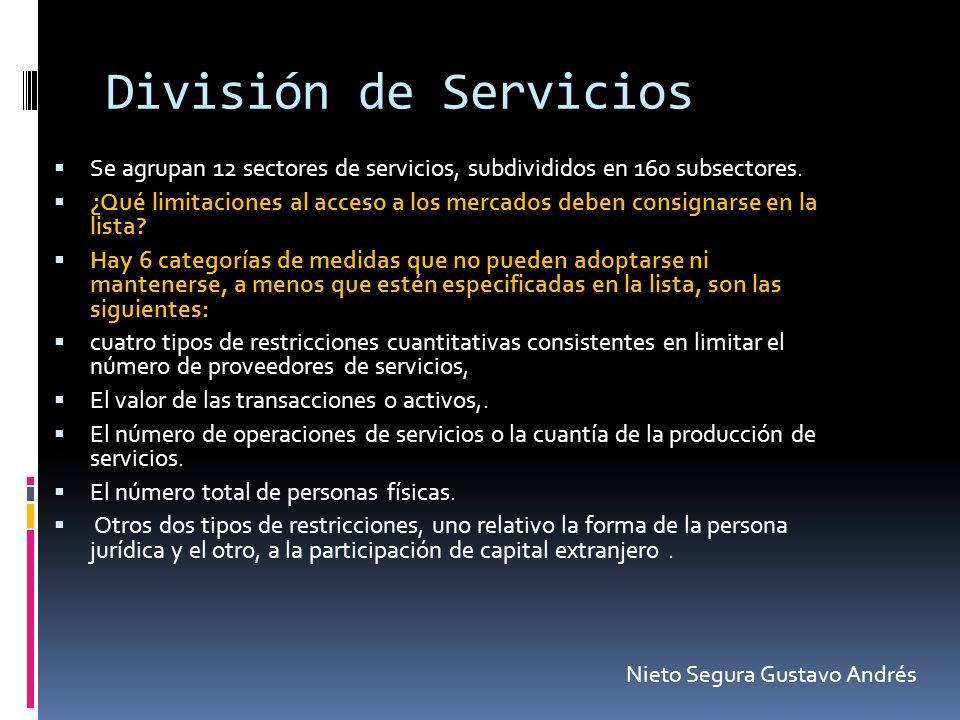 División de Servicios Se agrupan 12 sectores de servicios, subdivididos en 160 subsectores. ¿Qué limitaciones al acceso a los mercados deben consignar