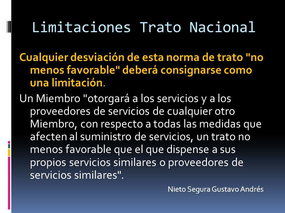 Limitaciones Trato Nacional Cualquier desviación de esta norma de trato