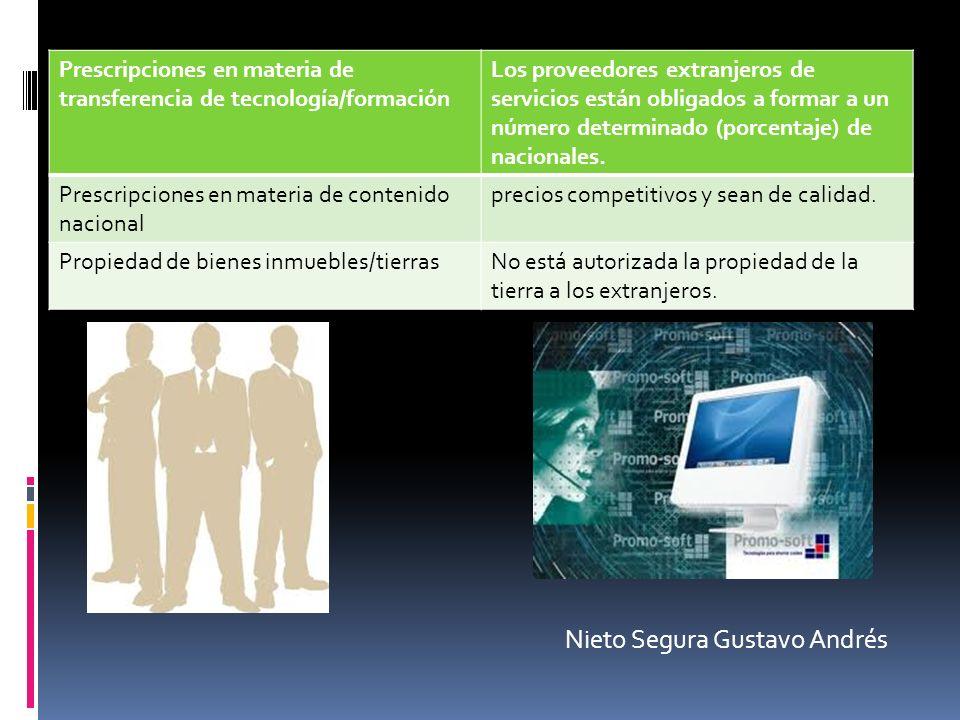 Prescripciones en materia de transferencia de tecnología/formación Los proveedores extranjeros de servicios están obligados a formar a un número deter