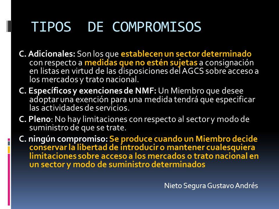TIPOS DE COMPROMISOS C. Adicionales: Son los que establecen un sector determinado con respecto a medidas que no estén sujetas a consignación en listas