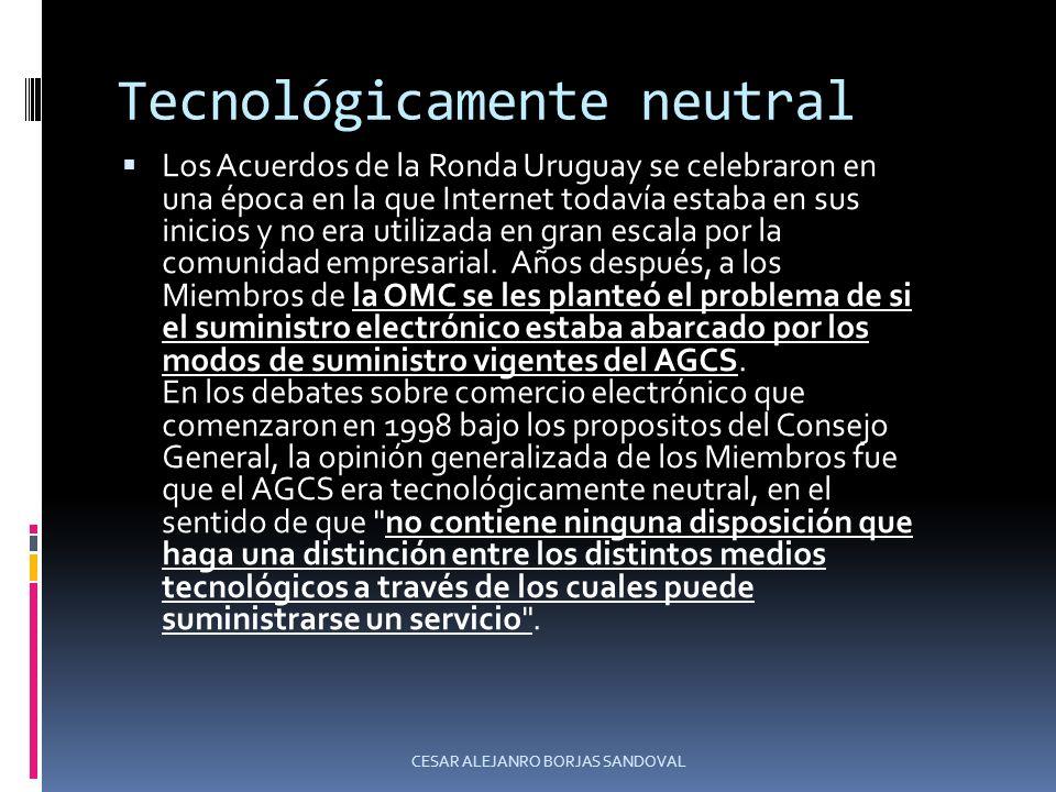 Tecnológicamente neutral Los Acuerdos de la Ronda Uruguay se celebraron en una época en la que Internet todavía estaba en sus inicios y no era utiliza
