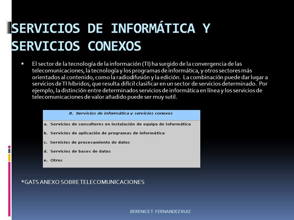 SERVICIOS DE INFORMÁTICA Y SERVICIOS CONEXOS El sector de la tecnología de la información (TI) ha surgido de la convergencia de las telecomunicaciones