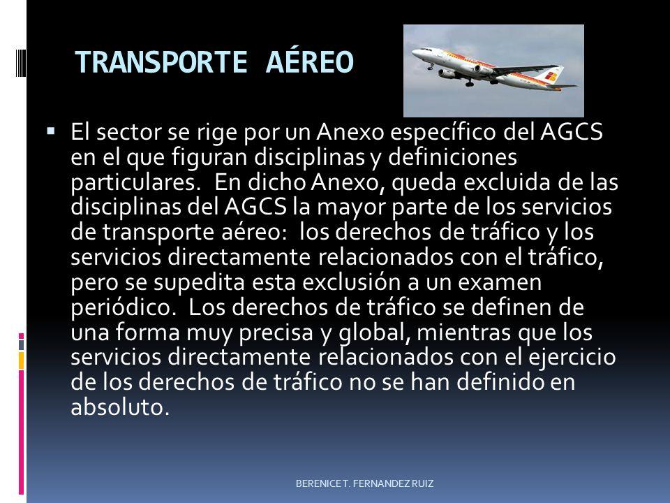 TRANSPORTE AÉREO El sector se rige por un Anexo específico del AGCS en el que figuran disciplinas y definiciones particulares. En dicho Anexo, queda e