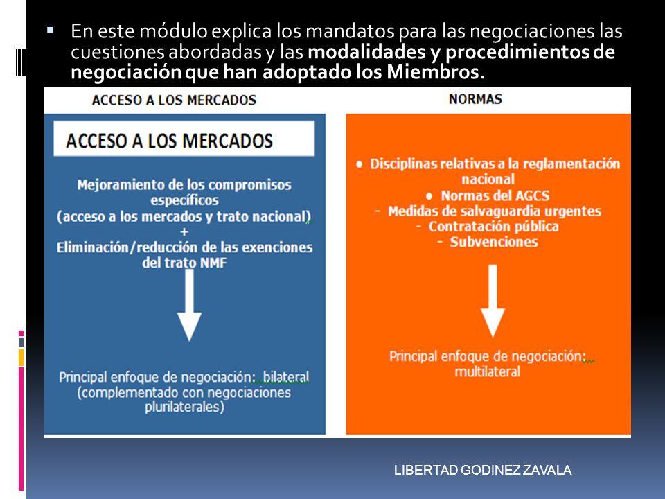 En este módulo explica los mandatos para las negociaciones las cuestiones abordadas y las modalidades y procedimientos de negociación que han adoptado