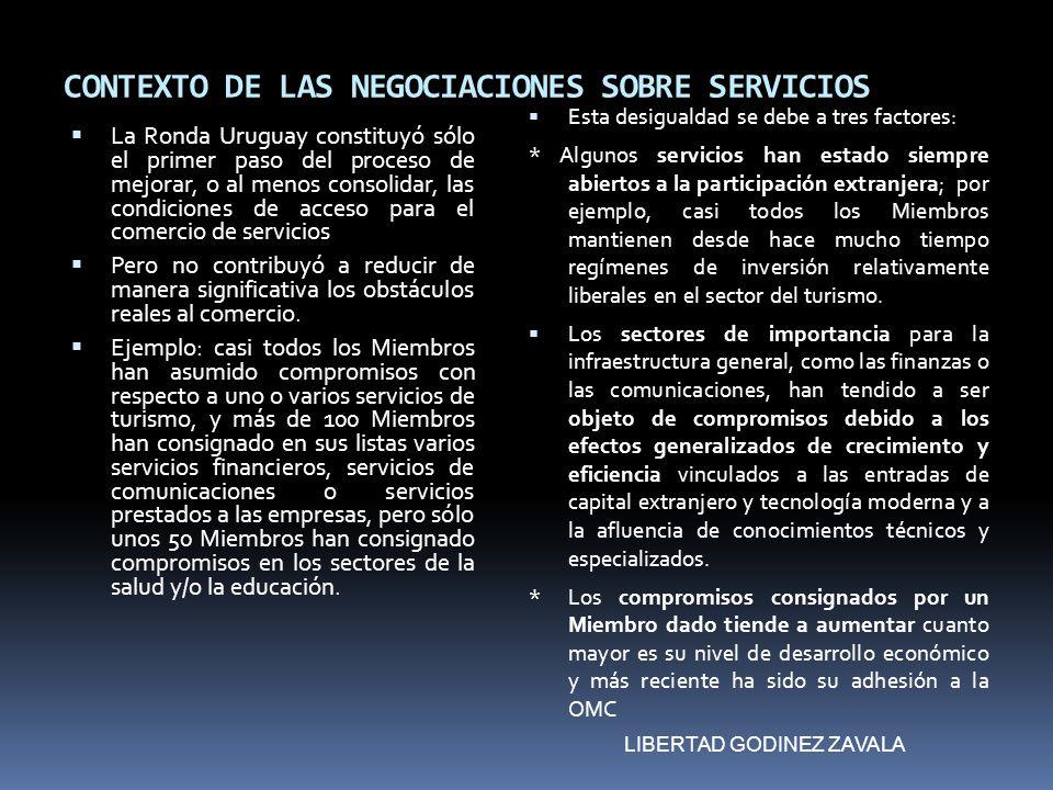 CONTEXTO DE LAS NEGOCIACIONES SOBRE SERVICIOS La Ronda Uruguay constituyó sólo el primer paso del proceso de mejorar, o al menos consolidar, las condi