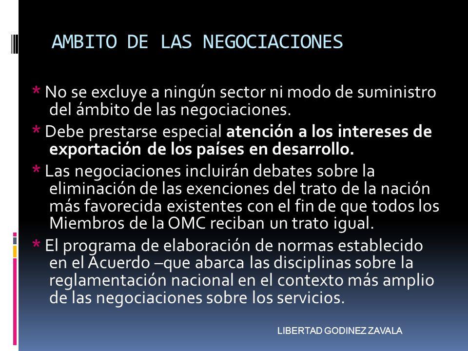 AMBITO DE LAS NEGOCIACIONES * No se excluye a ningún sector ni modo de suministro del ámbito de las negociaciones. * Debe prestarse especial atención