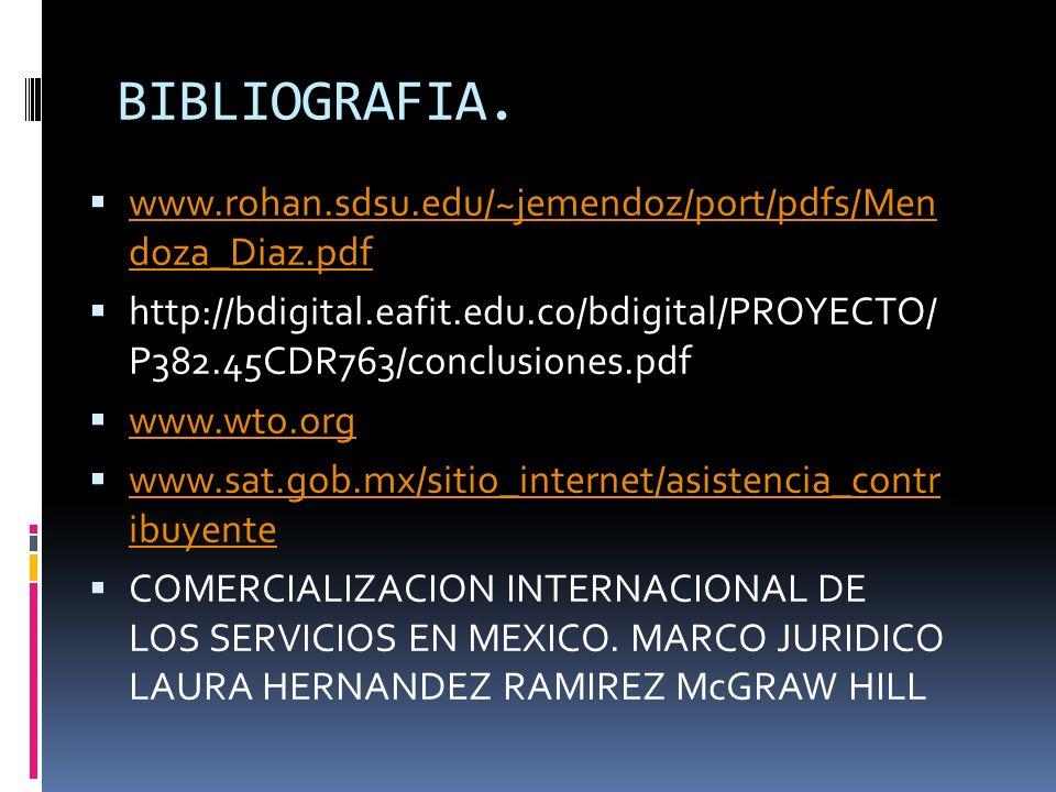 BIBLIOGRAFIA. www.rohan.sdsu.edu/~jemendoz/port/pdfs/Men doza_Diaz.pdf www.rohan.sdsu.edu/~jemendoz/port/pdfs/Men doza_Diaz.pdf http://bdigital.eafit.