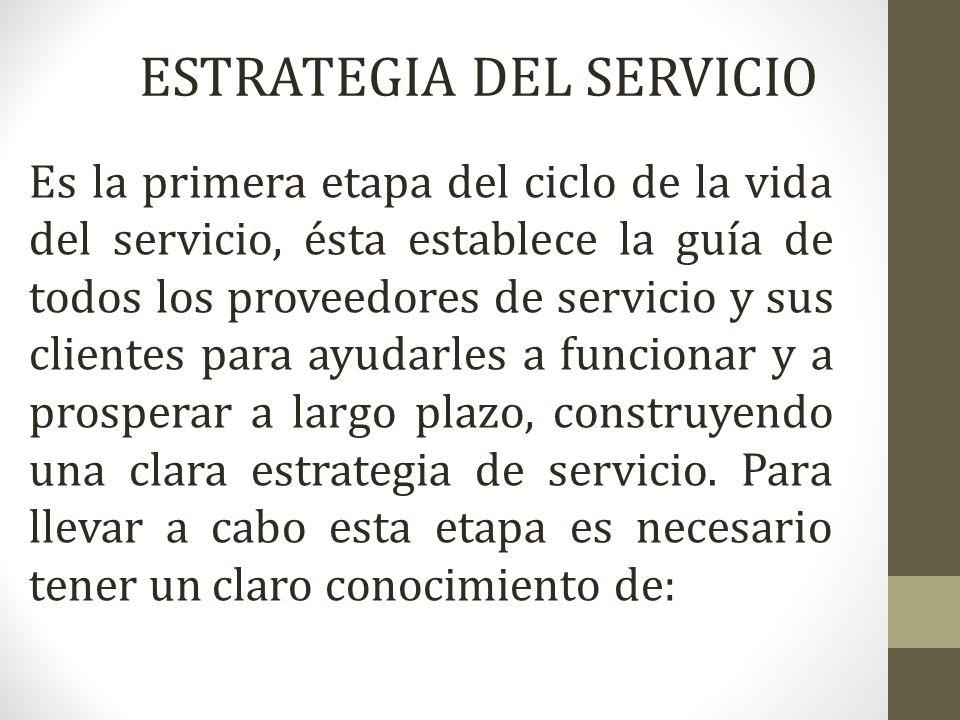 Es la primera etapa del ciclo de la vida del servicio, ésta establece la guía de todos los proveedores de servicio y sus clientes para ayudarles a fun