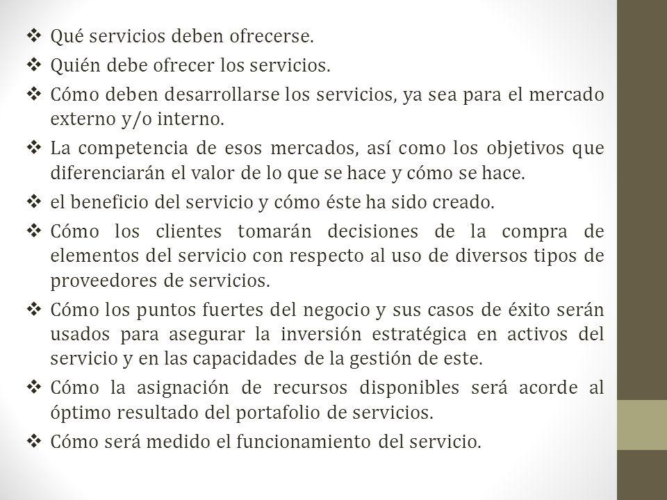 Qué servicios deben ofrecerse. Quién debe ofrecer los servicios. Cómo deben desarrollarse los servicios, ya sea para el mercado externo y/o interno. L