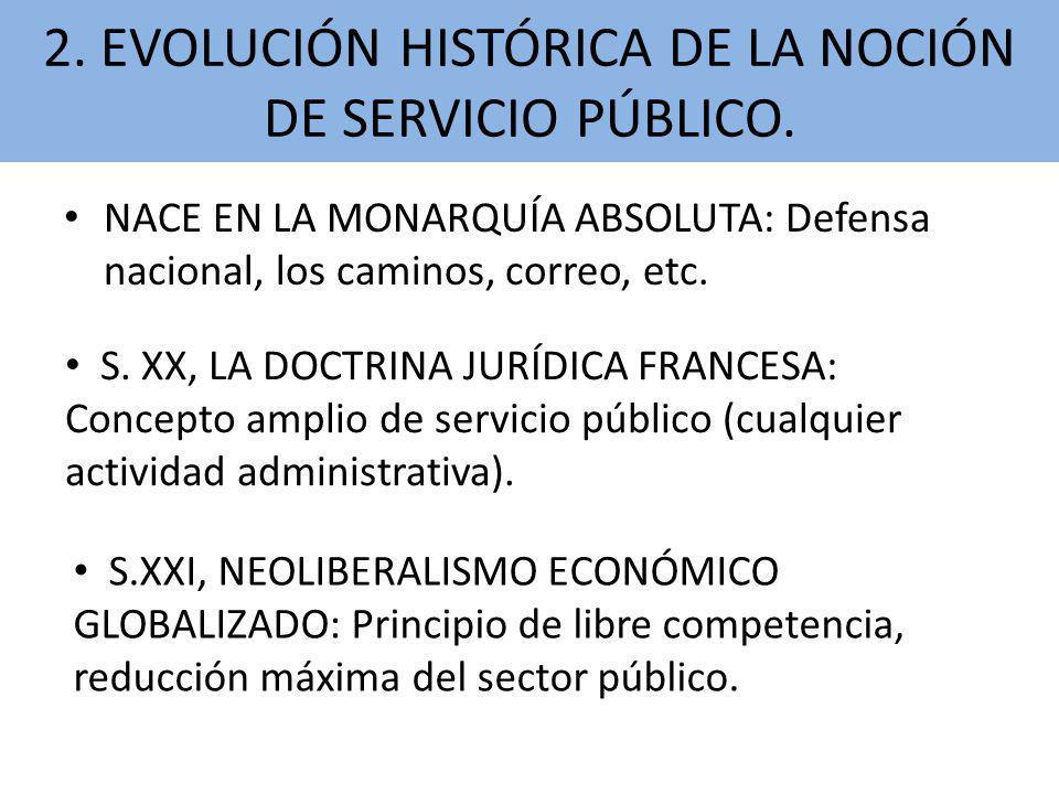 NACE EN LA MONARQUÍA ABSOLUTA: Defensa nacional, los caminos, correo, etc. S. XX, LA DOCTRINA JURÍDICA FRANCESA: Concepto amplio de servicio público (
