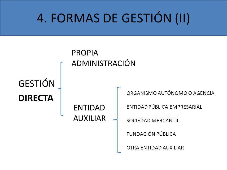 4. FORMAS DE GESTIÓN (II) GESTIÓN DIRECTA PROPIA ADMINISTRACIÓN ENTIDAD AUXILIAR ORGANISMO AUTÓNOMO O AGENCIA ENTIDAD PÚBLICA EMPRESARIAL SOCIEDAD MER