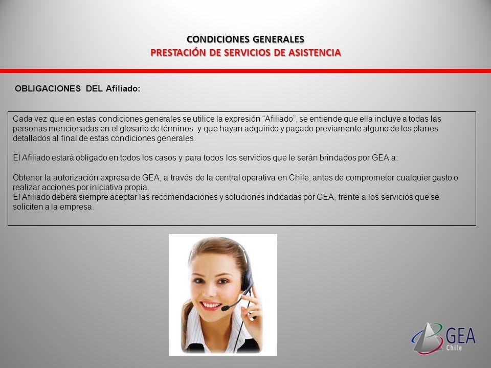 CONDICIONES GENERALES PRESTACIÓN DE SERVICIOS DE ASISTENCIA CONDICIONES GENERALES PRESTACIÓN DE SERVICIOS DE ASISTENCIA GLOSARIO DE TÉRMINOS DEFINICIONES.