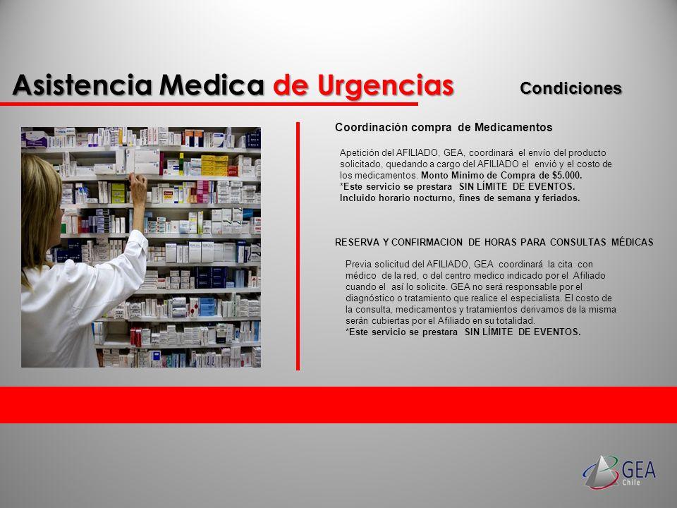 Condiciones Coordinación compra de Medicamentos Apetición del AFILIADO, GEA, coordinará el envío del producto solicitado, quedando a cargo del AFILIAD
