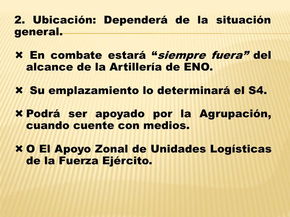 2. Ubicación: Dependerá de la situación general. En combate estará siempre fuera del alcance de la Artillería de ENO. Su emplazamiento lo determinará