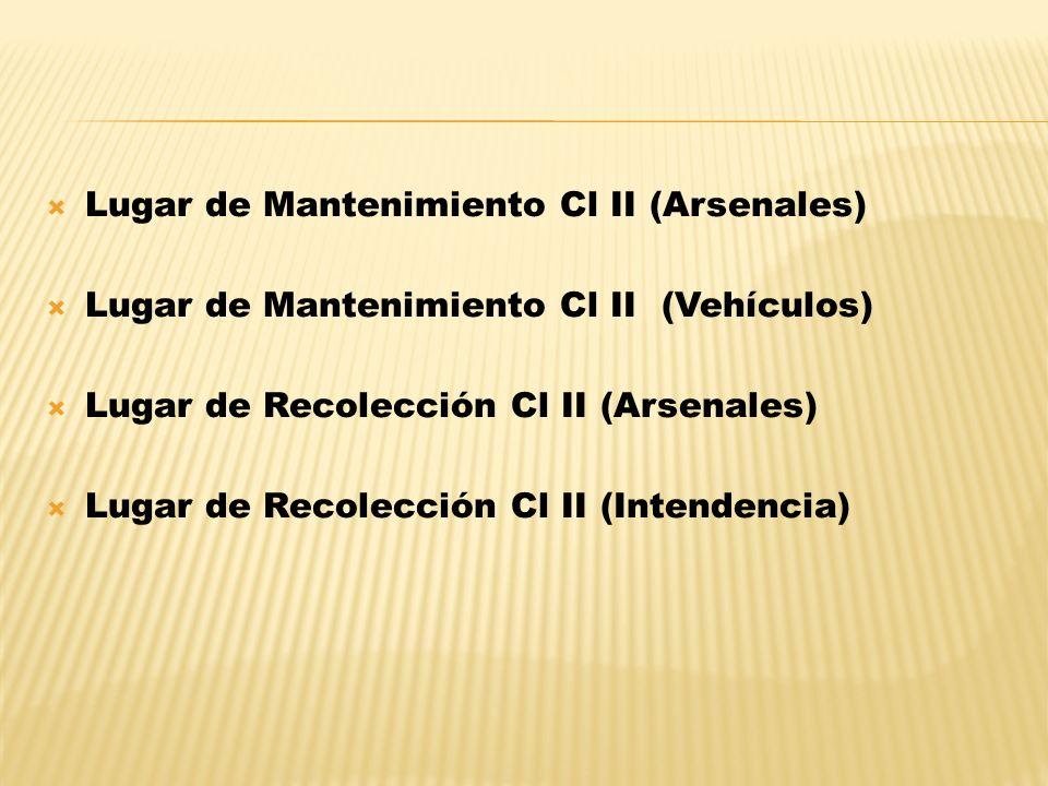 Lugar de Mantenimiento Cl II (Arsenales) Lugar de Mantenimiento Cl II (Vehículos) Lugar de Recolección Cl II (Arsenales) Lugar de Recolección Cl II (I