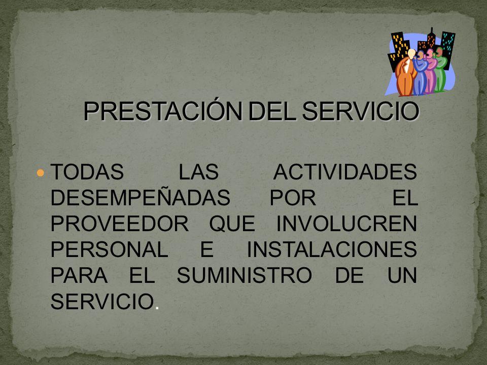 TODAS LAS ACTIVIDADES DESEMPEÑADAS POR EL PROVEEDOR QUE INVOLUCREN PERSONAL E INSTALACIONES PARA EL SUMINISTRO DE UN SERVICIO.