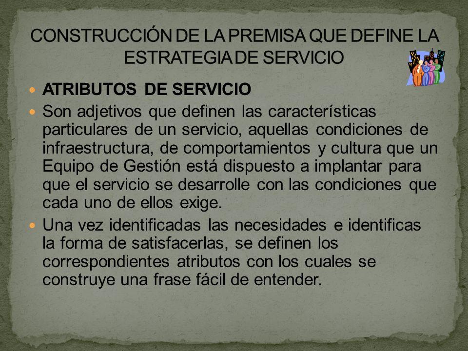 ATRIBUTOS DE SERVICIO Son adjetivos que definen las características particulares de un servicio, aquellas condiciones de infraestructura, de comportam