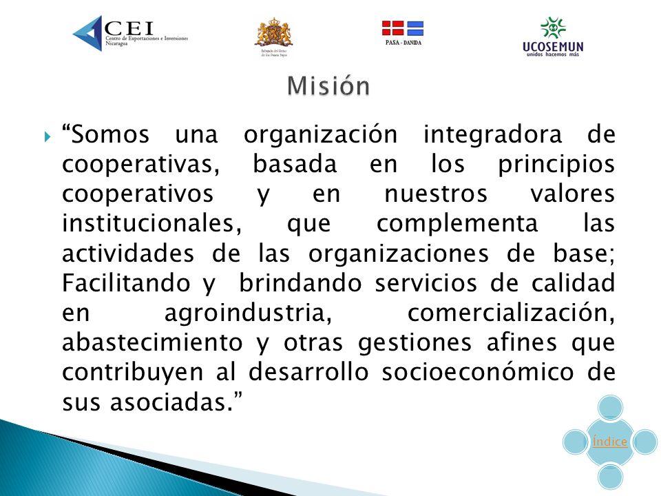 Somos una organización integradora de cooperativas, basada en los principios cooperativos y en nuestros valores institucionales, que complementa las actividades de las organizaciones de base; Facilitando y brindando servicios de calidad en agroindustria, comercialización, abastecimiento y otras gestiones afines que contribuyen al desarrollo socioeconómico de sus asociadas.