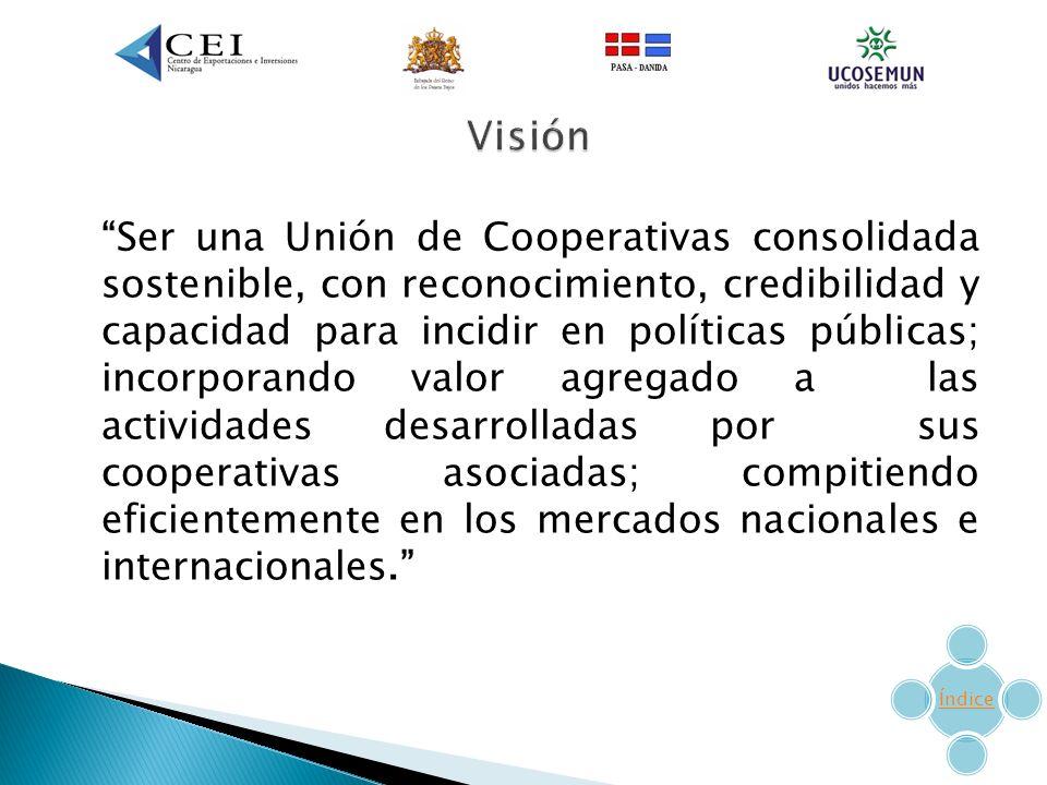 Ser una Unión de Cooperativas consolidada sostenible, con reconocimiento, credibilidad y capacidad para incidir en políticas públicas; incorporando valor agregado a las actividades desarrolladas por sus cooperativas asociadas; compitiendo eficientemente en los mercados nacionales e internacionales.