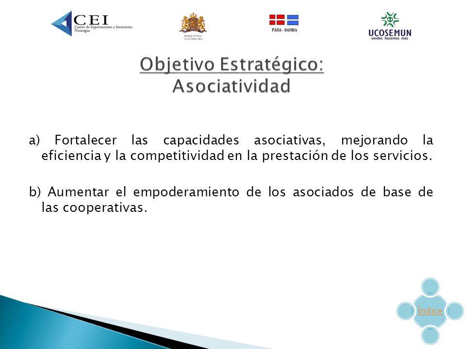a) Fortalecer las capacidades asociativas, mejorando la eficiencia y la competitividad en la prestación de los servicios.