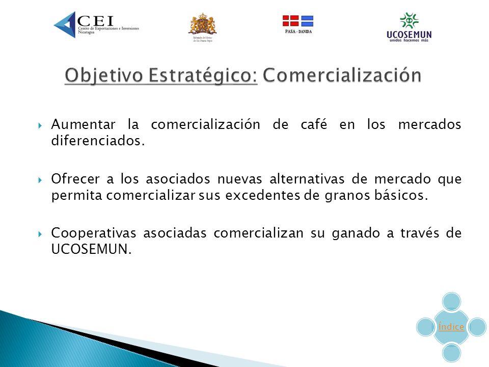 Aumentar la comercialización de café en los mercados diferenciados.