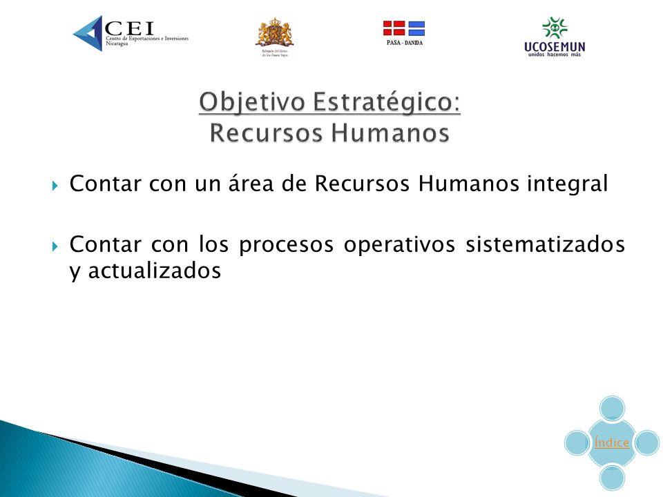 Contar con un área de Recursos Humanos integral Contar con los procesos operativos sistematizados y actualizados Índice