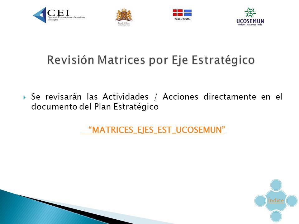 Se revisarán las Actividades / Acciones directamente en el documento del Plan Estratégico MATRICES_EJES_EST_UCOSEMUN Índice