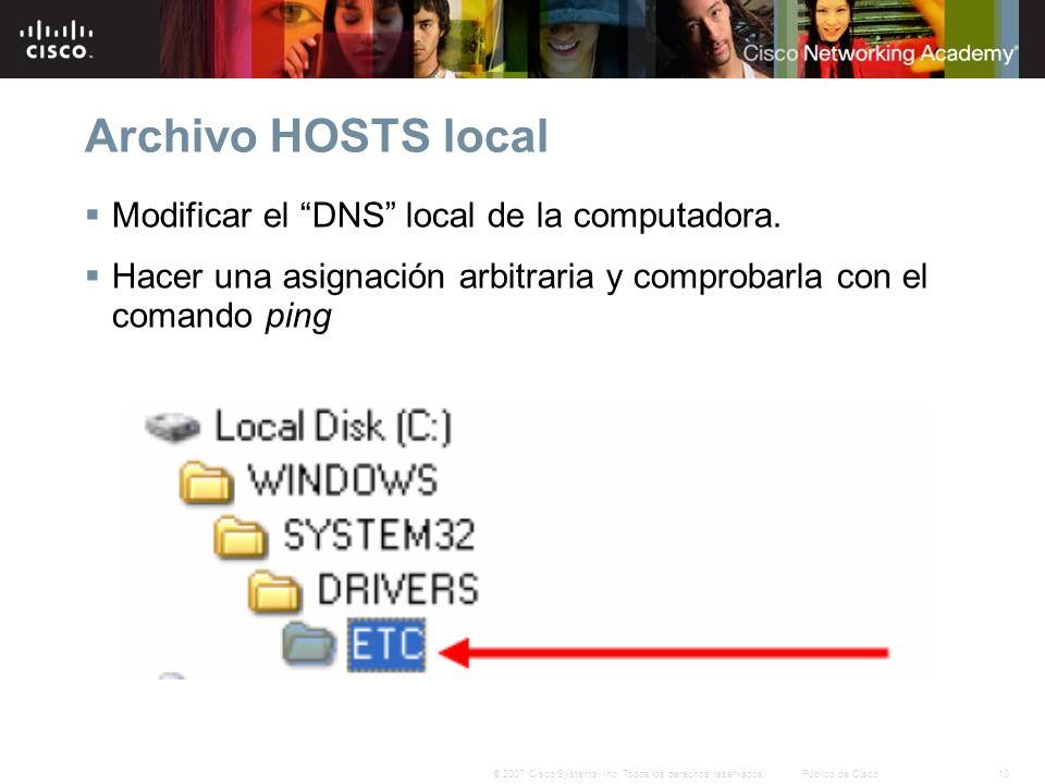 10© 2007 Cisco Systems, Inc. Todos los derechos reservados.Público de Cisco Archivo HOSTS local Modificar el DNS local de la computadora. Hacer una as