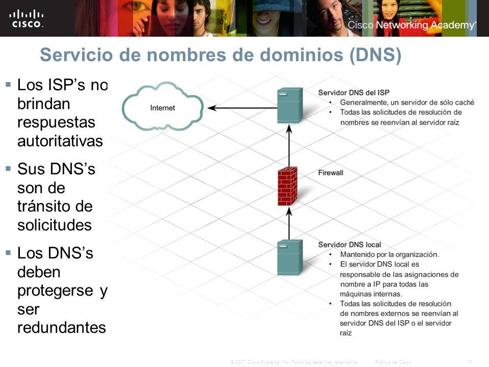 17© 2007 Cisco Systems, Inc. Todos los derechos reservados.Público de Cisco Servicio de nombres de dominios (DNS) Los ISPs no brindan respuestas autor