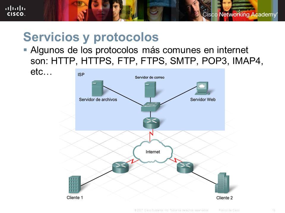 18© 2007 Cisco Systems, Inc. Todos los derechos reservados.Público de Cisco Servicios y protocolos Algunos de los protocolos más comunes en internet s