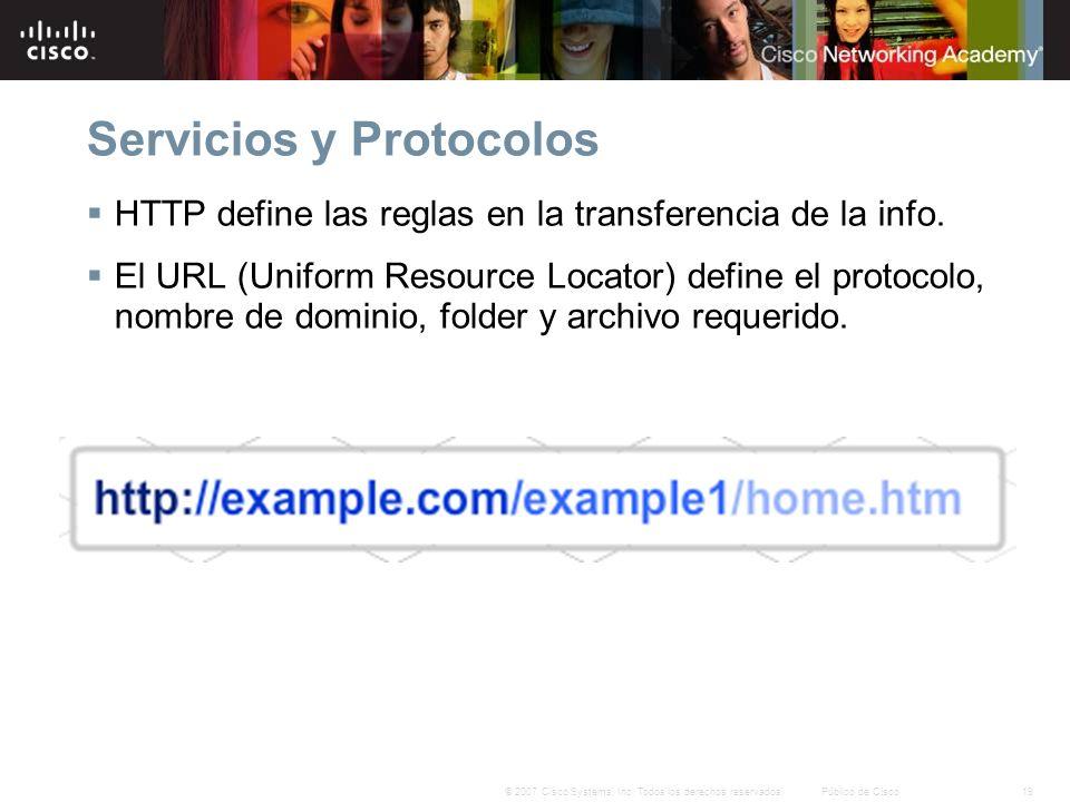 19© 2007 Cisco Systems, Inc. Todos los derechos reservados.Público de Cisco Servicios y Protocolos HTTP define las reglas en la transferencia de la in