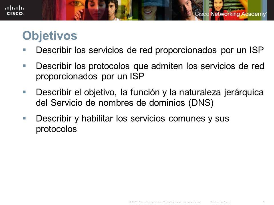 2© 2007 Cisco Systems, Inc. Todos los derechos reservados.Público de Cisco Objetivos Describir los servicios de red proporcionados por un ISP Describi