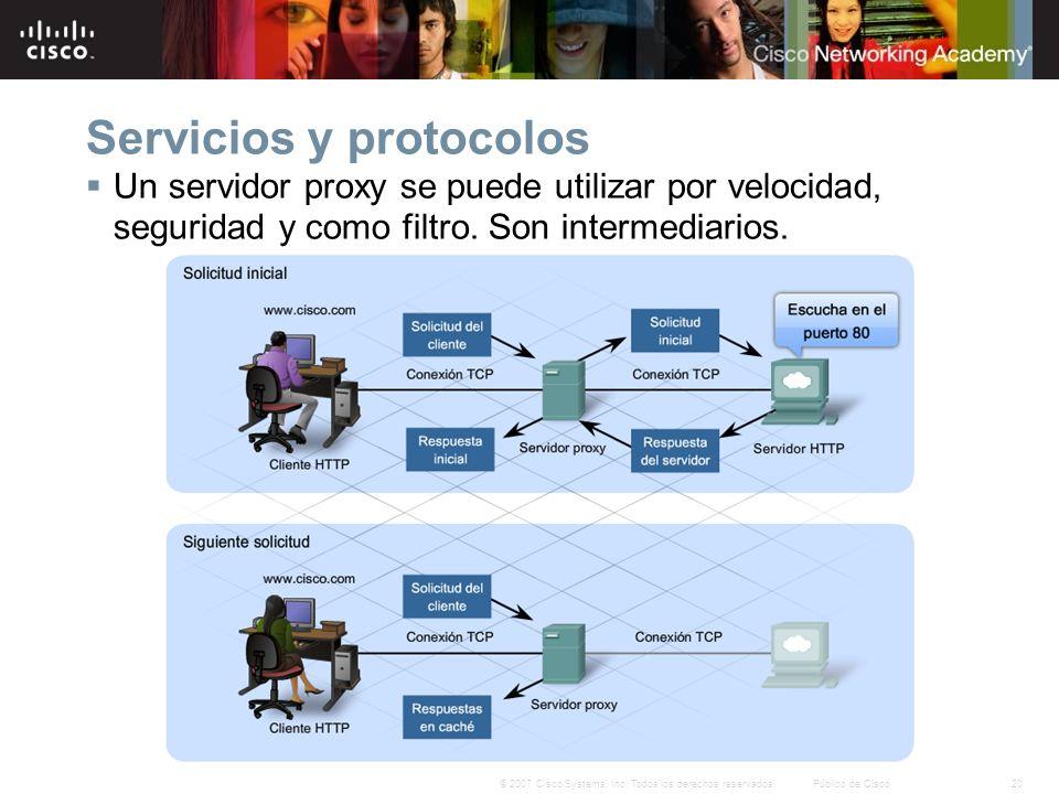 20© 2007 Cisco Systems, Inc. Todos los derechos reservados.Público de Cisco Servicios y protocolos Un servidor proxy se puede utilizar por velocidad,