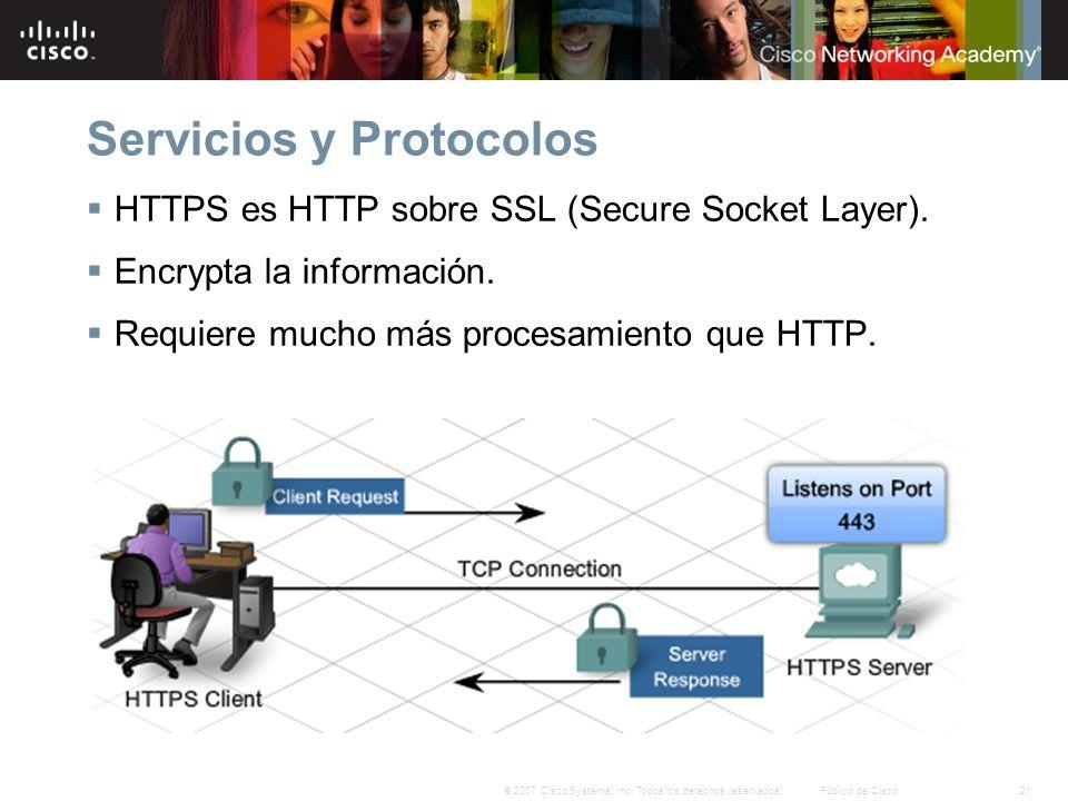 21© 2007 Cisco Systems, Inc. Todos los derechos reservados.Público de Cisco Servicios y Protocolos HTTPS es HTTP sobre SSL (Secure Socket Layer). Encr