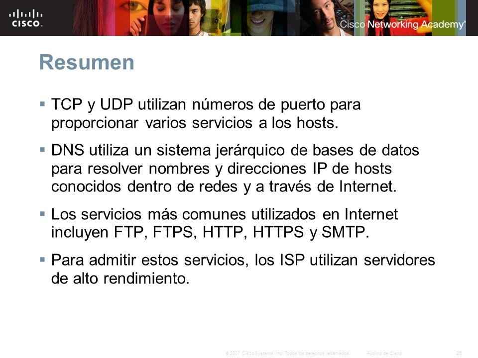 25© 2007 Cisco Systems, Inc. Todos los derechos reservados.Público de Cisco Resumen TCP y UDP utilizan números de puerto para proporcionar varios serv