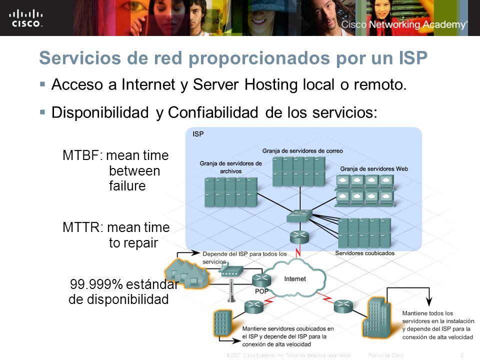 3© 2007 Cisco Systems, Inc. Todos los derechos reservados.Público de Cisco Servicios de red proporcionados por un ISP Acceso a Internet y Server Hosti