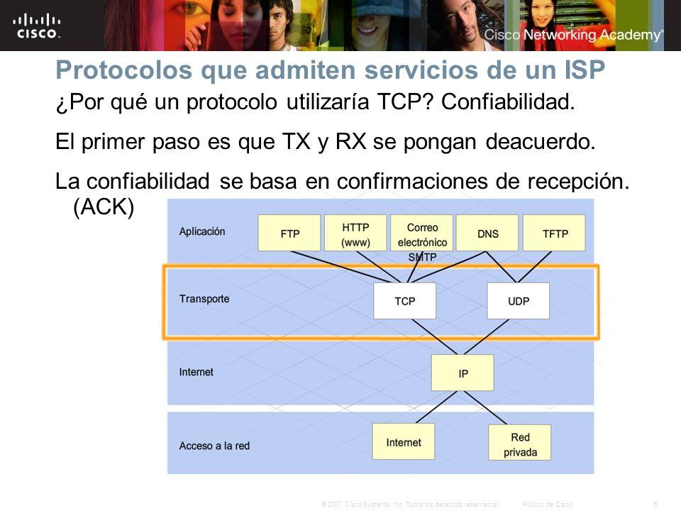 5© 2007 Cisco Systems, Inc. Todos los derechos reservados.Público de Cisco Protocolos que admiten servicios de un ISP ¿Por qué un protocolo utilizaría