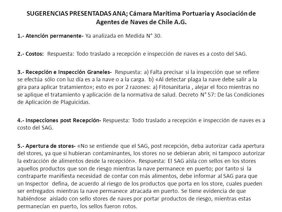SUGERENCIAS PRESENTADAS ANA; Cámara Marítima Portuaria y Asociación de Agentes de Naves de Chile A.G. 1.- Atención permanente- Ya analizada en Medida