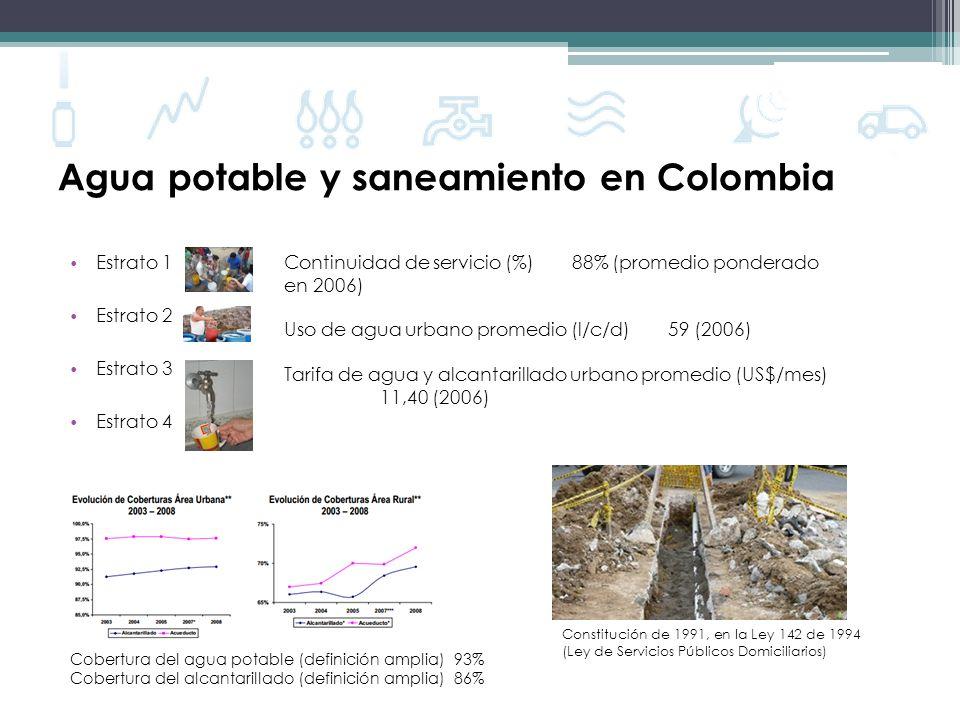 Agua potable y saneamiento en Colombia Estrato 1 Estrato 2 Estrato 3 Estrato 4 Cobertura del agua potable (definición amplia)93% Cobertura del alcanta