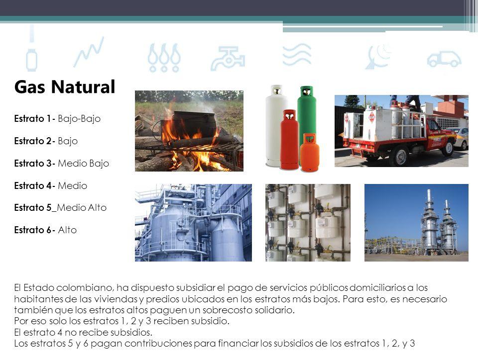 Gas Natural Estrato 1- Bajo-Bajo Estrato 2- Bajo Estrato 3- Medio Bajo Estrato 4- Medio Estrato 5 _Medio Alto Estrato 6- Alto El Estado colombiano, ha