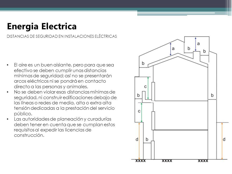 Energia Electrica DISTANCIAS DE SEGURIDAD EN INSTALACIONES ELÉCTRICAS El aire es un buen aislante, pero para que sea efectivo se deben cumplir unas di