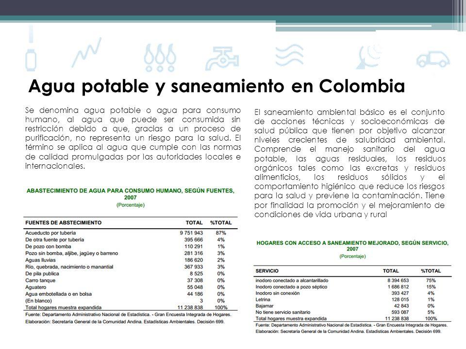 Agua potable y saneamiento en Colombia Estrato 1 Estrato 2 Estrato 3 Estrato 4 Cobertura del agua potable (definición amplia)93% Cobertura del alcantarillado (definición amplia)86% Constitución de 1991, en la Ley 142 de 1994 (Ley de Servicios Públicos Domiciliarios) Continuidad de servicio (%)88% (promedio ponderado en 2006) Uso de agua urbano promedio (l/c/d)59 (2006) Tarifa de agua y alcantarillado urbano promedio (US$/mes) 11,40 (2006)