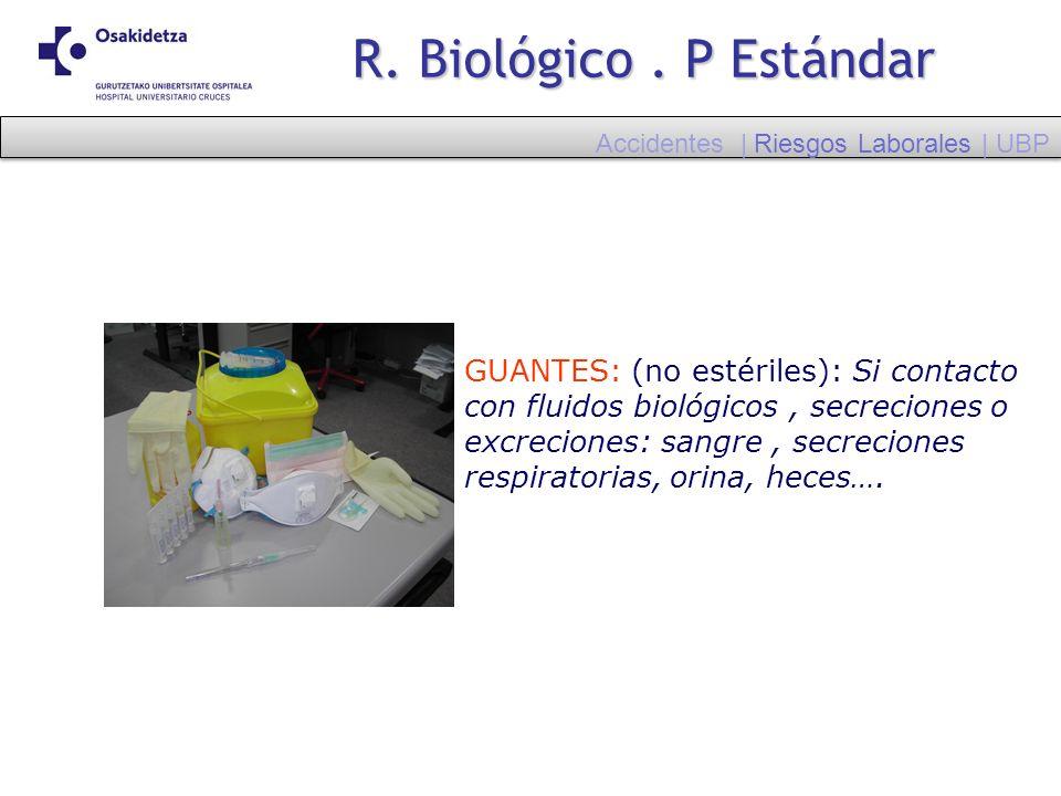 R. Biológico. P Estándar GUANTES: (no estériles): Si contacto con fluidos biológicos, secreciones o excreciones: sangre, secreciones respiratorias, or