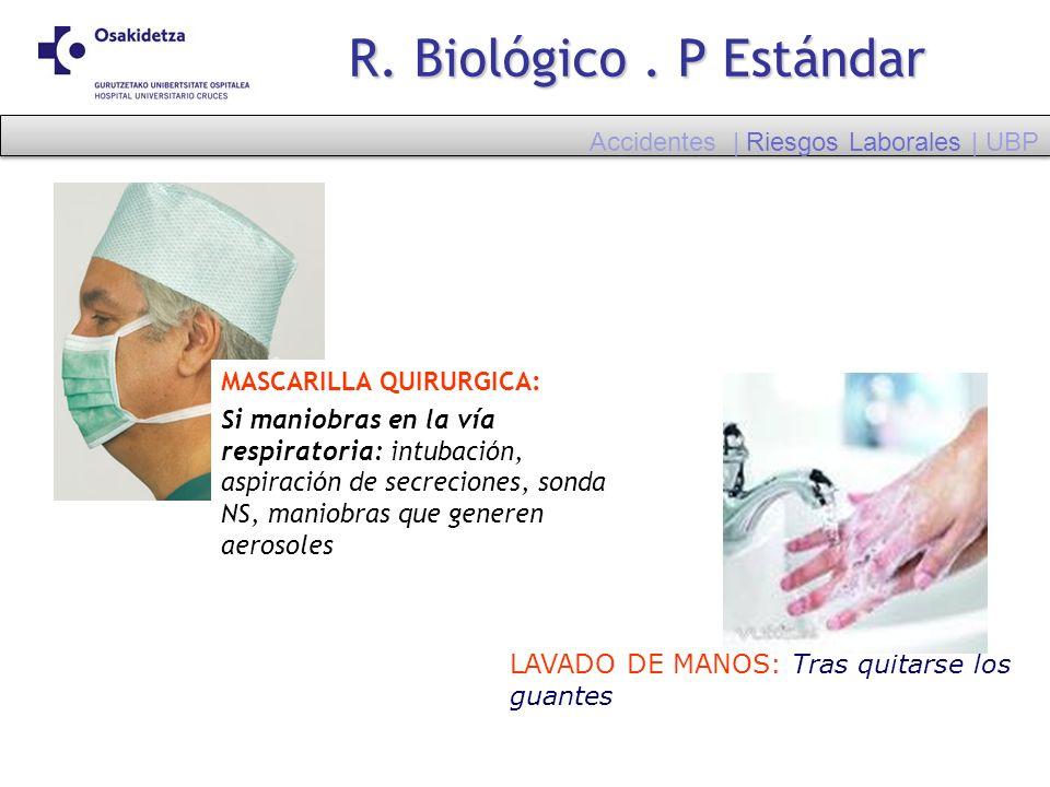 LAVADO DE MANOS: Tras quitarse los guantes MASCARILLA QUIRURGICA: Si maniobras en la vía respiratoria: intubación, aspiración de secreciones, sonda NS