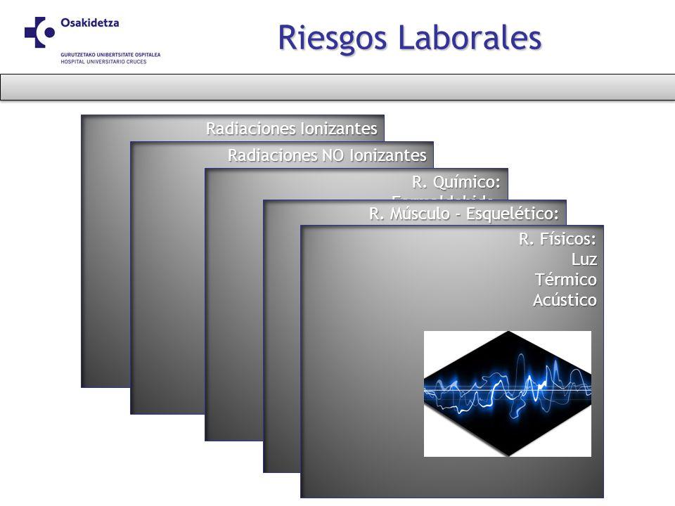 Radiaciones Ionizantes Riesgos Laborales Radiaciones NO Ionizantes R. Químico: Formaldehido.Medicamentos. Disolventes (Xileno,..) Desinfectantes- este