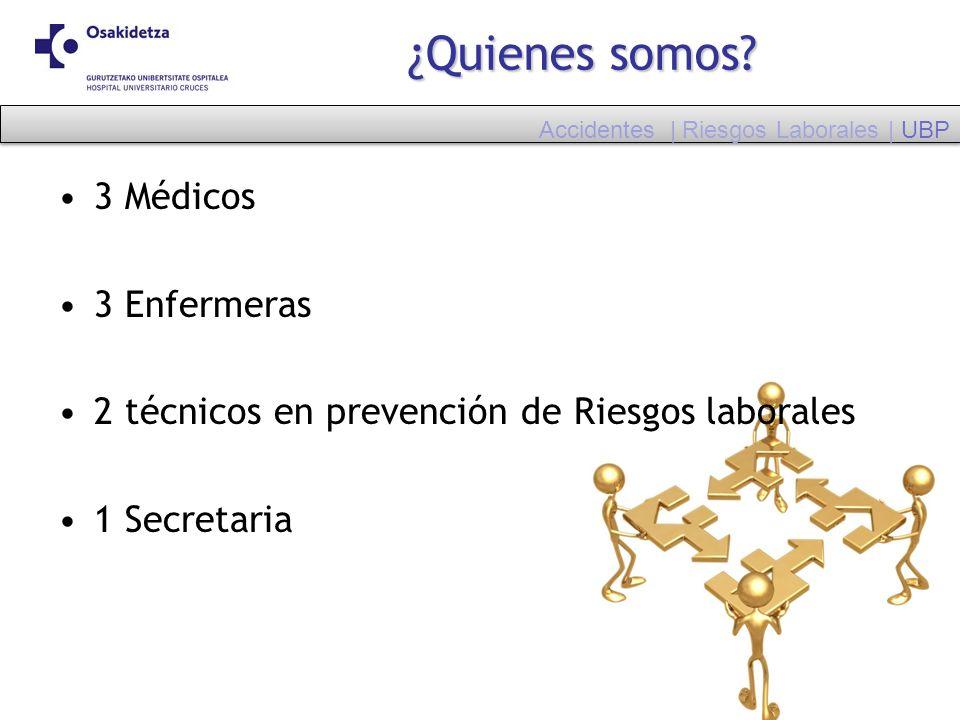 ¿Quienes somos? 3 Médicos 3 Enfermeras 2 técnicos en prevención de Riesgos laborales 1 Secretaria Accidentes | Riesgos Laborales | UBP