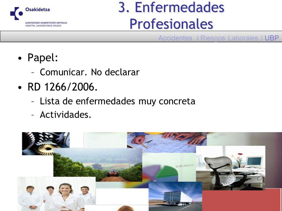 3. Enfermedades Profesionales Papel: –Comunicar. No declarar RD 1266/2006. –Lista de enfermedades muy concreta –Actividades. Accidentes | Riesgos Labo