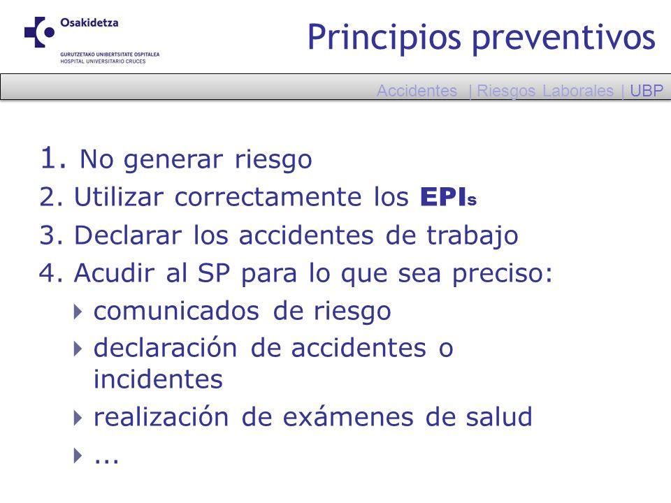 Principios preventivos 1. No generar riesgo 2. Utilizar correctamente los EPI s 3. Declarar los accidentes de trabajo 4. Acudir al SP para lo que sea