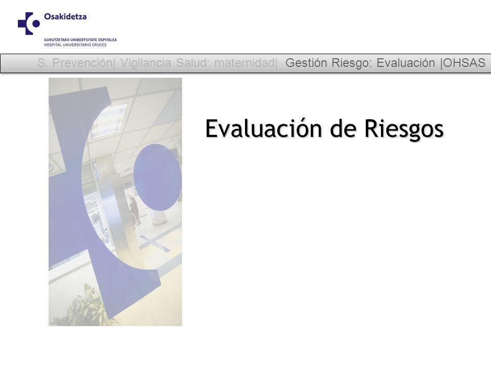 Evaluación de Riesgos S. Prevención| Vigilancia Salud: maternidad| Gestión Riesgo: Evaluación |OHSAS